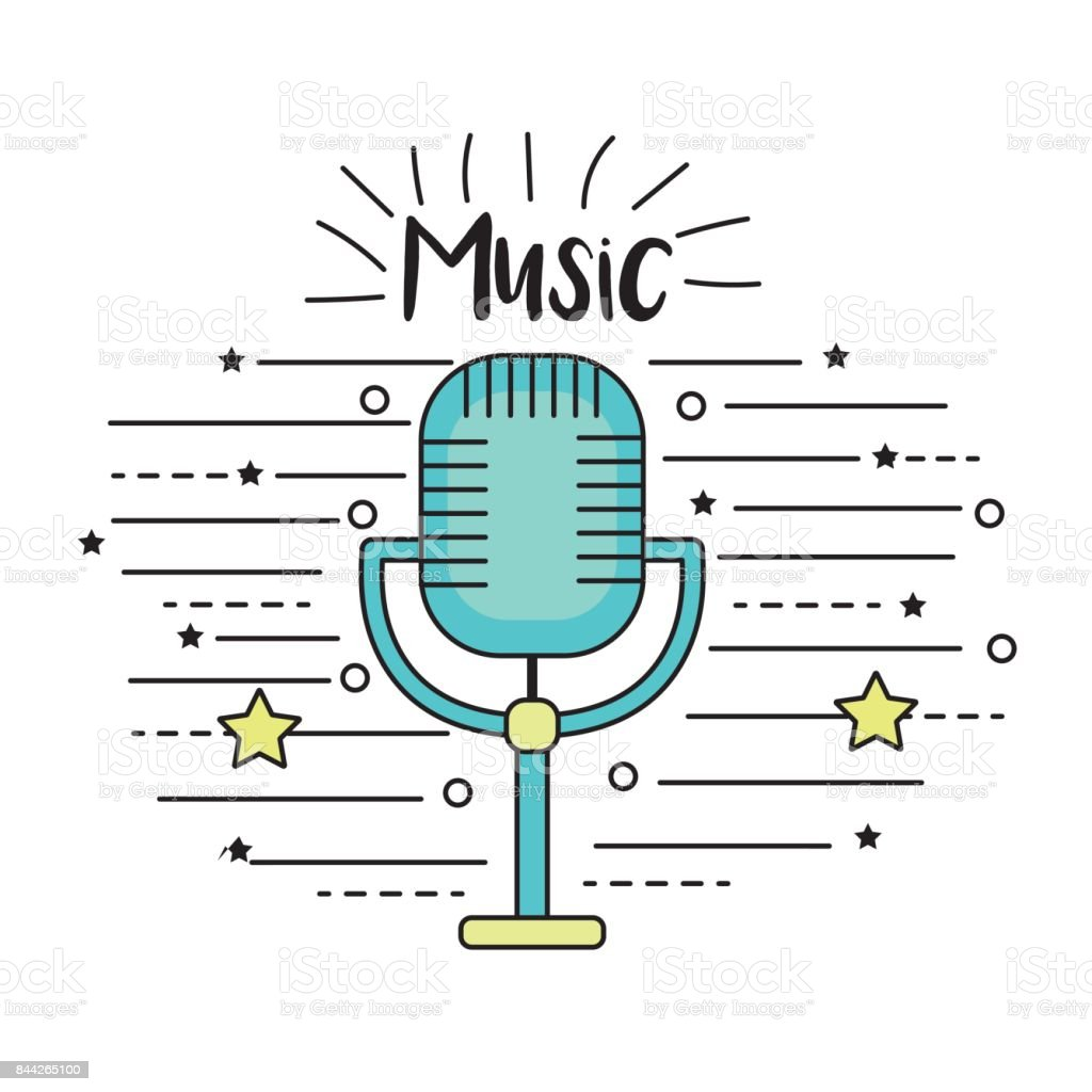 microphone to sing music in the performance vector art illustration