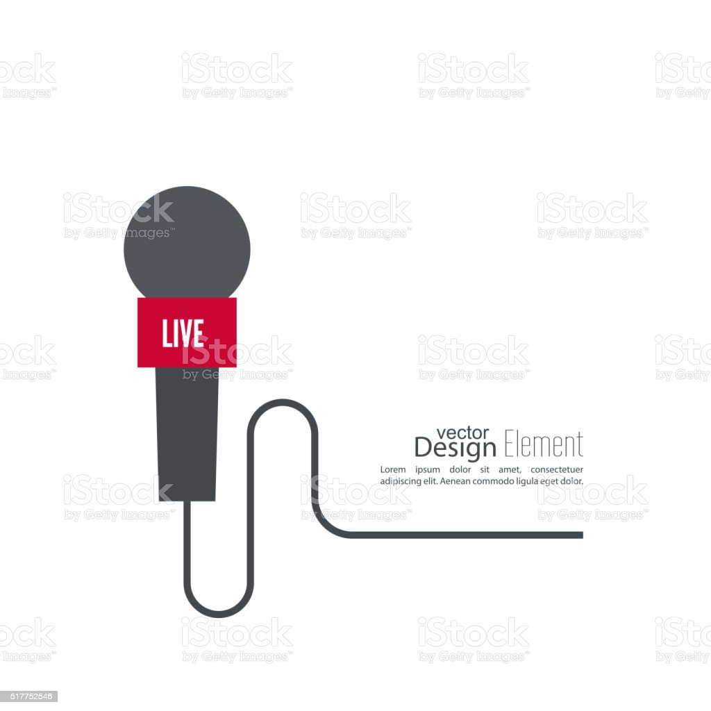 Microphone with a wire. vector art illustration