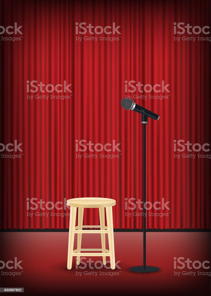 microphone with round chair on stage show vector art illustration