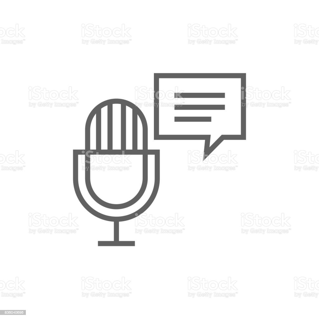 Microphone with speech square line icon vector art illustration
