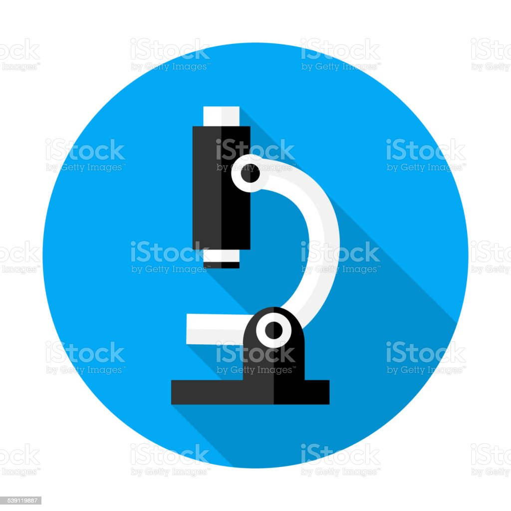Microscope flat circle icon vector art illustration