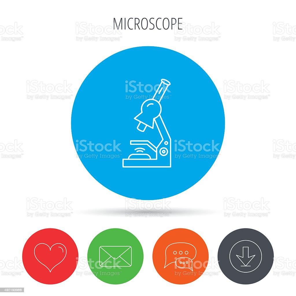 Microscope icon. Medical laboratory equipment. vector art illustration