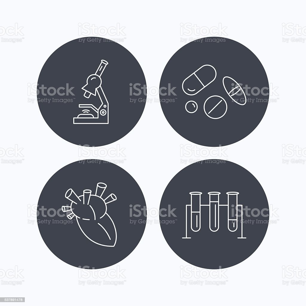 Microscope, medical pills and heart icons. vector art illustration