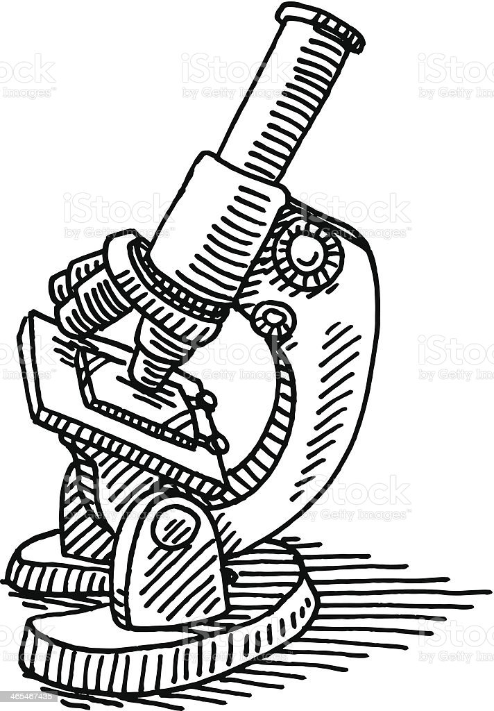 Microscope Science Drawing vector art illustration