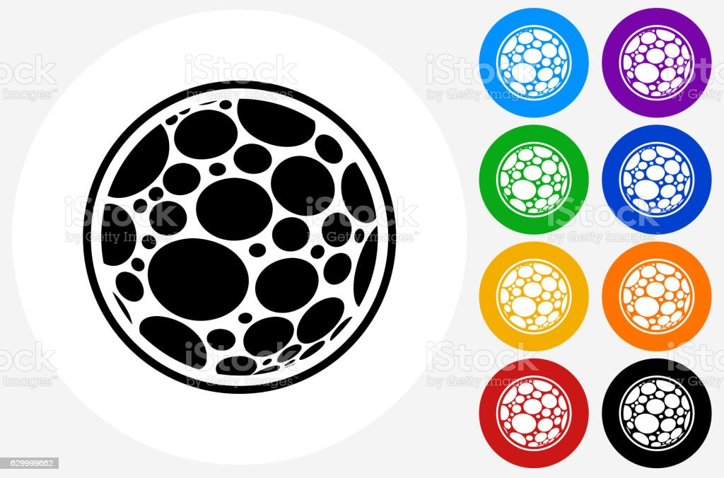 Microscopic Icon on Flat Color Circle Buttons vector art illustration