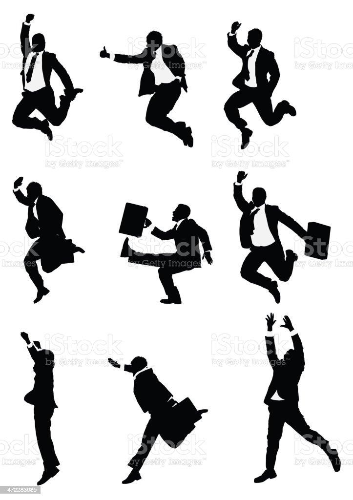 Mid air posing businessmen royalty-free stock vector art