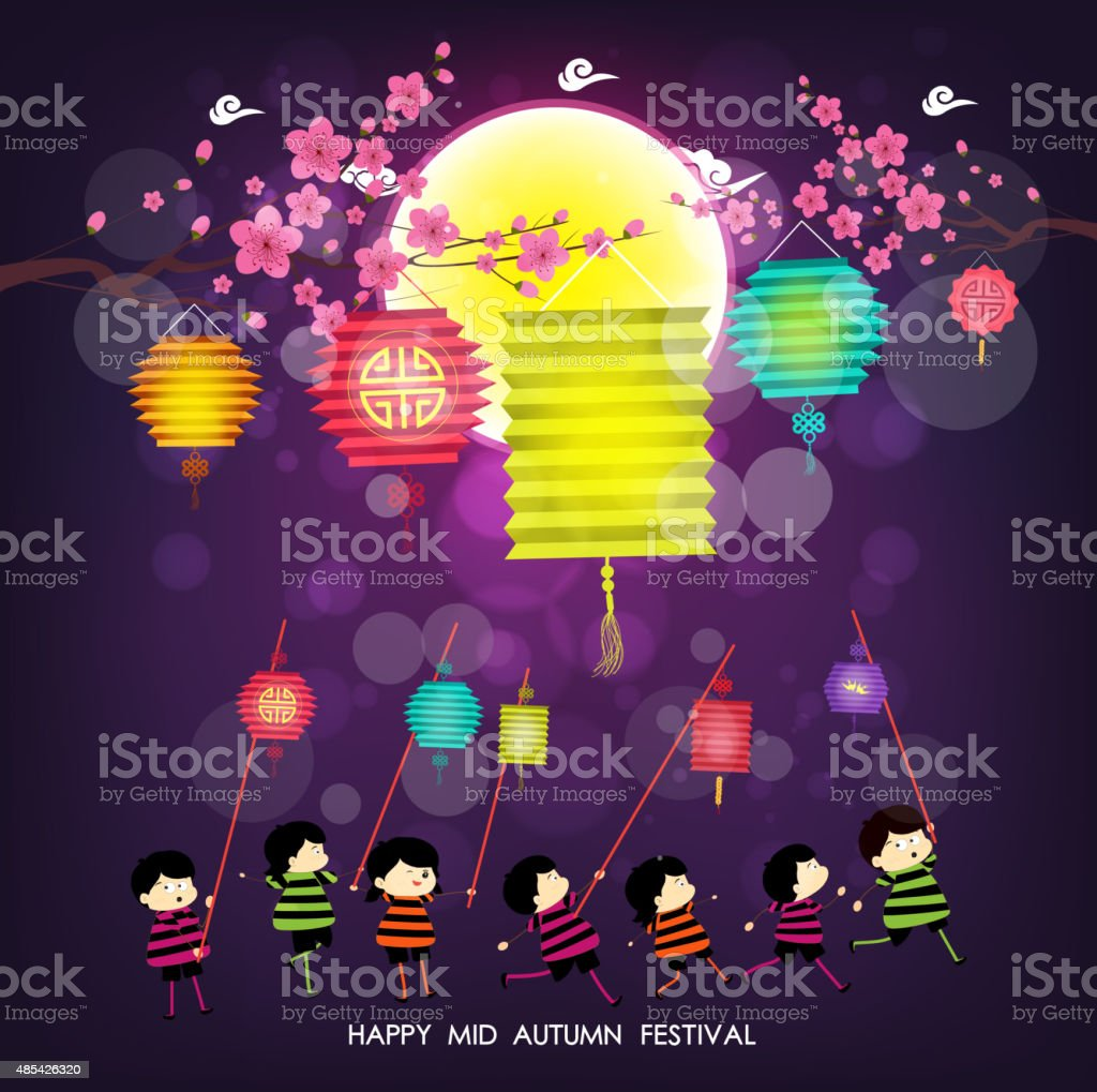 Mid Autumn Festival background with happy kids playing lanterns vector art illustration