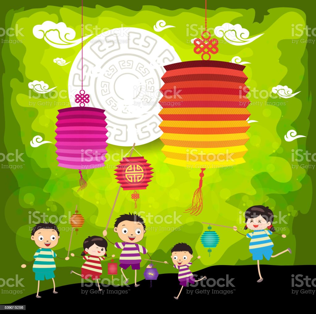 Mid Autumn Festival background with kids playing lanterns vector art illustration