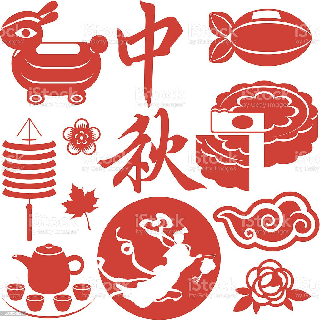 Mid Autumn festival concept icons set vector art illustration