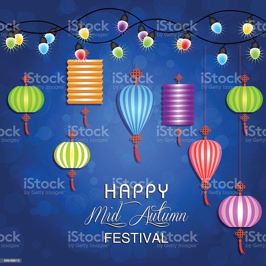 Mid Autumn Festival vector background with lantern vector art illustration