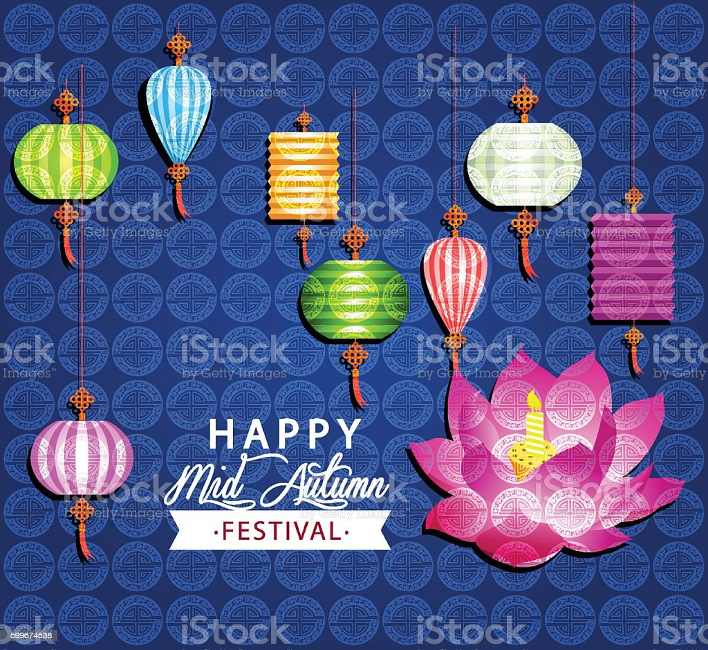 Mid Autumn Festival vector with lotus lantern and color light vector art illustration
