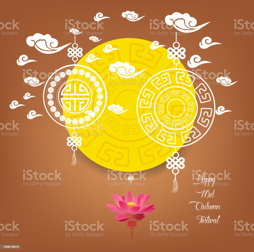 Mid Autumn Lantern Festival vector background with chinese pattern vector art illustration