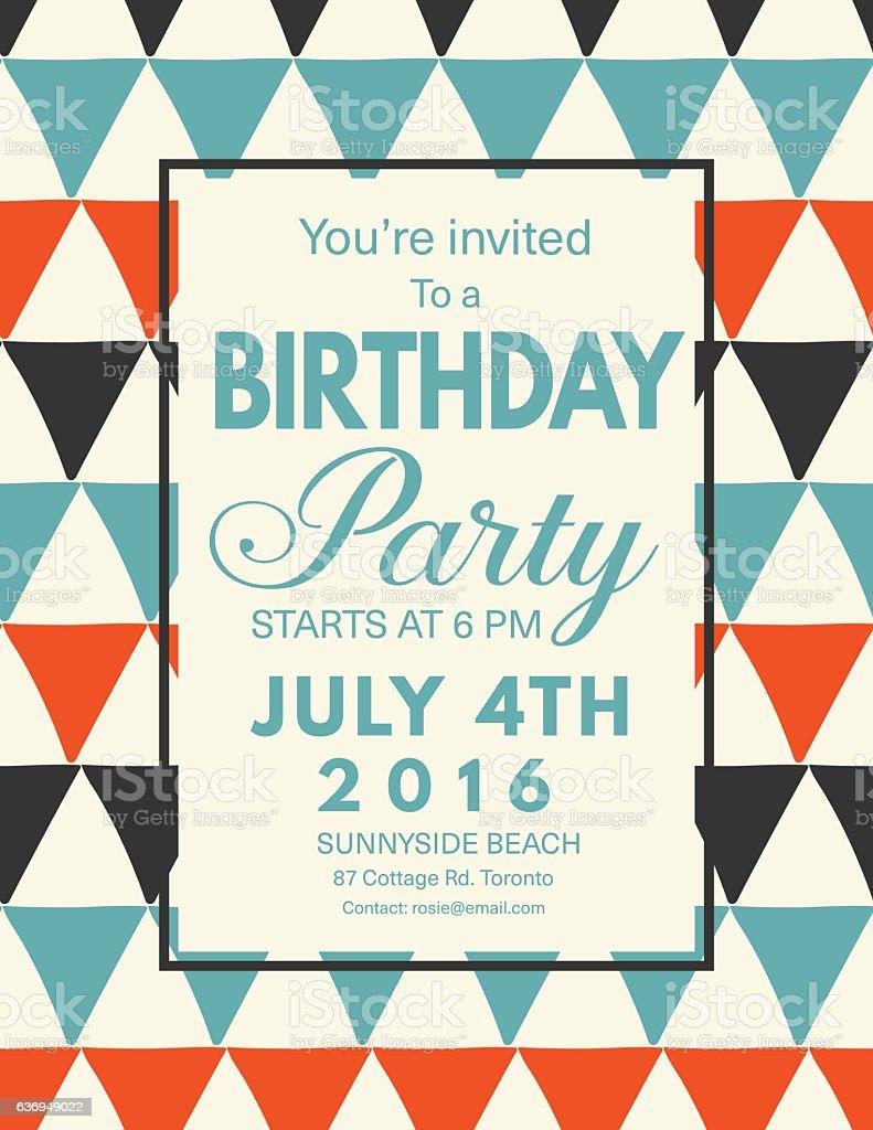Retro Mid Century Modern Style Background With Birthday Invitation...