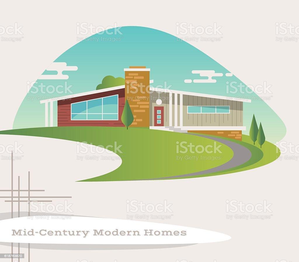 mid century modern style house. retro vector illustration vector art illustration