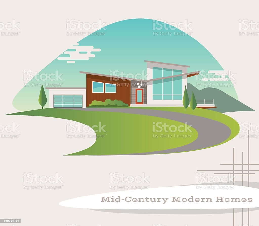 mid century modern style house. retro vector illustration vector art illustration