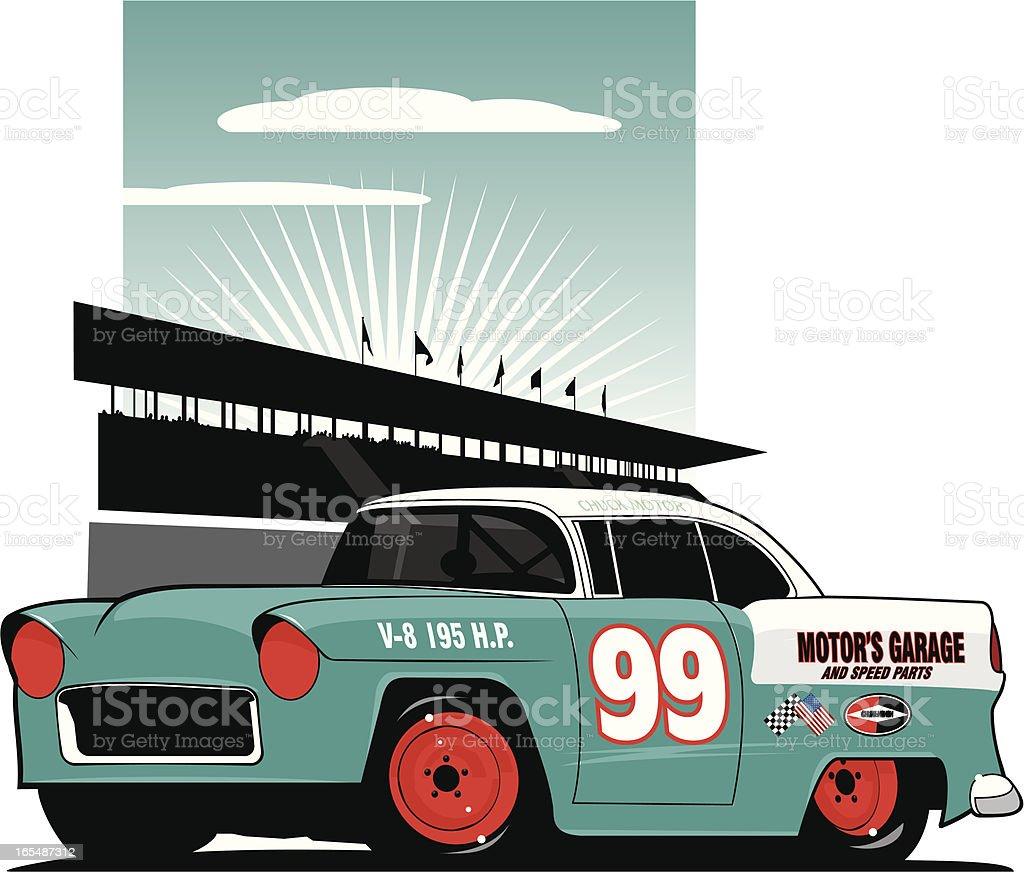 Mid Fifties Stock Car vector art illustration