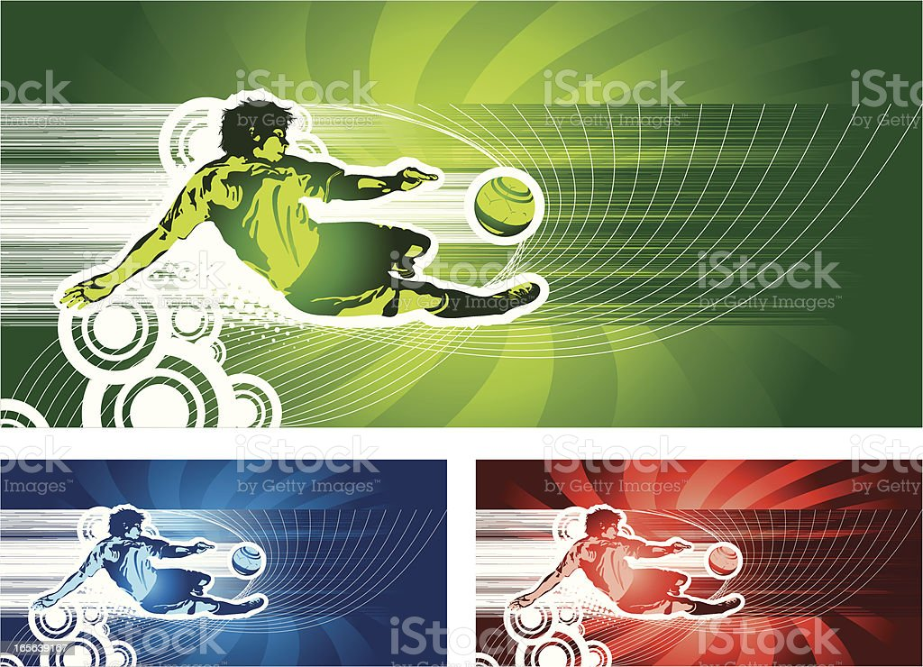Mid-air Soccer Player About to Kick the Ball vector art illustration
