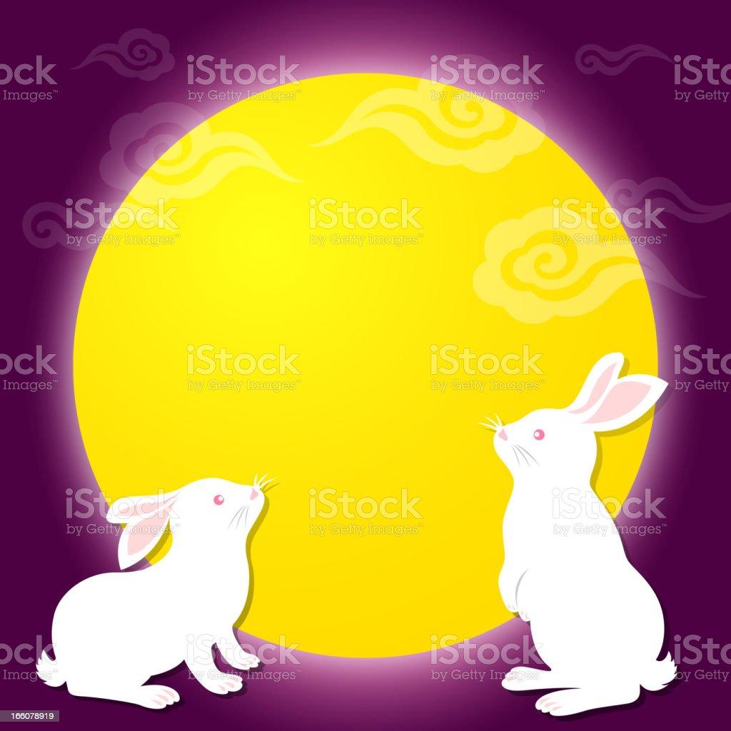 Mid-Autumn Festival Bunnies vector art illustration