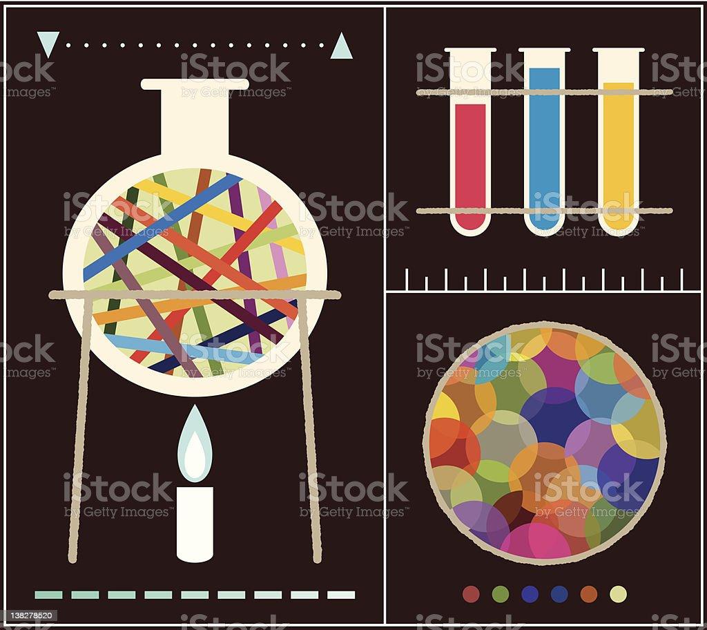Mid-Century Modern Style Laboratory Assemblage vector art illustration