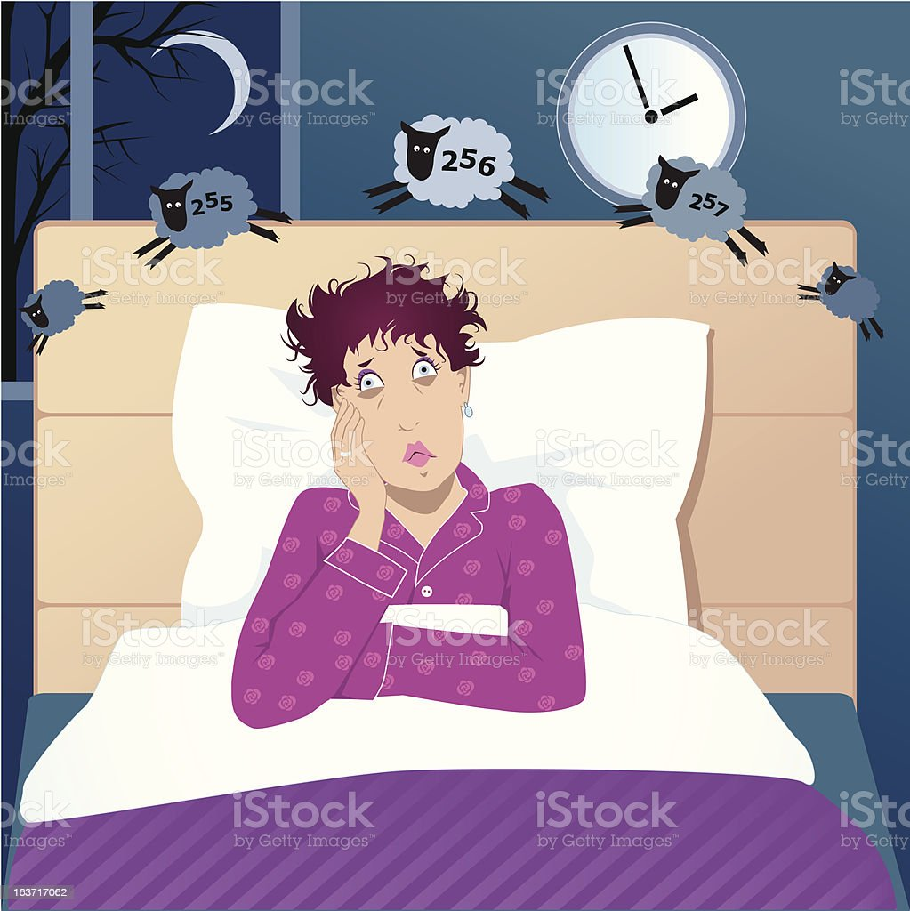 Middle age woman with insomnia vector art illustration