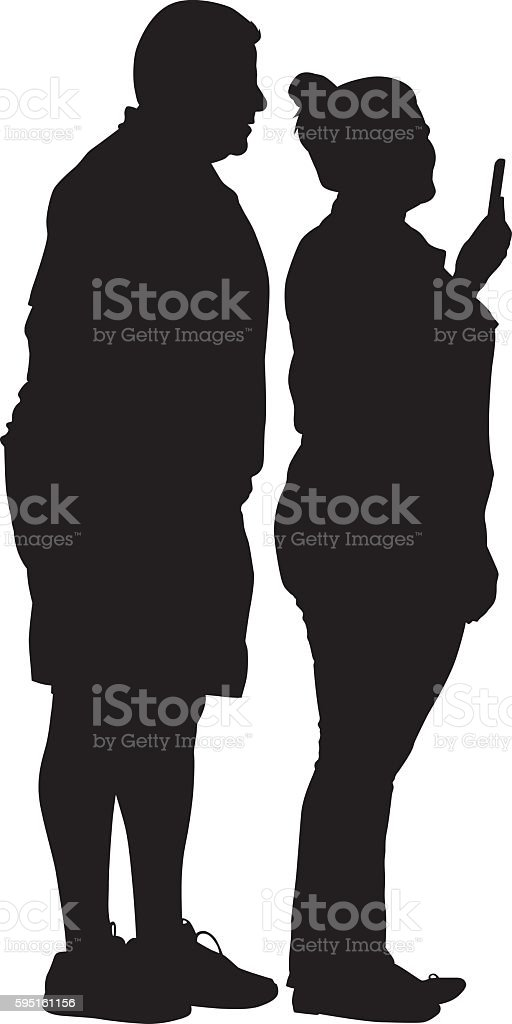 Middle Aged Couple Taking A Selfie vector art illustration