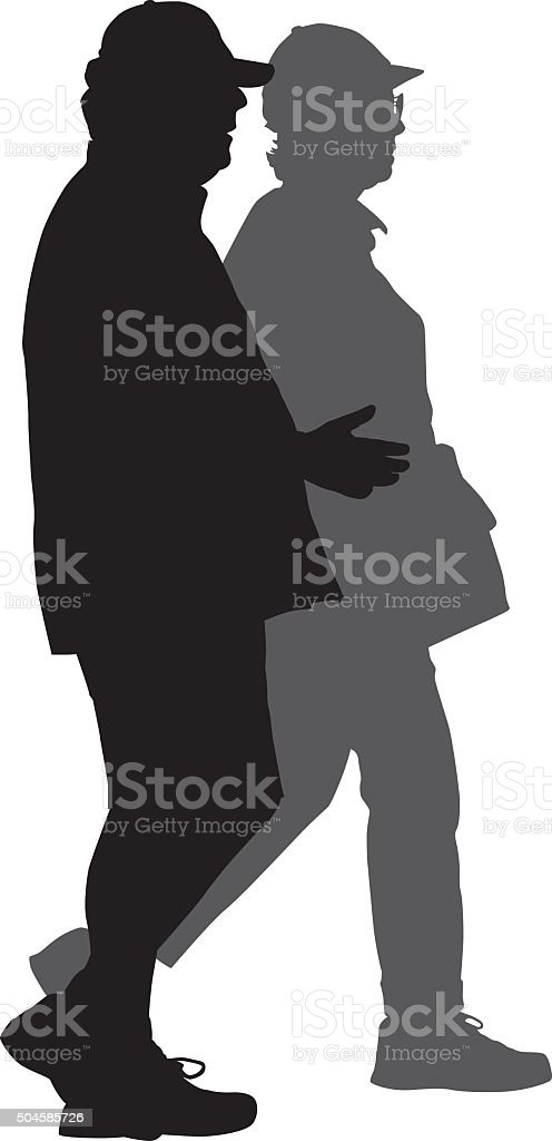 Middle Aged Couple Walking Together vector art illustration