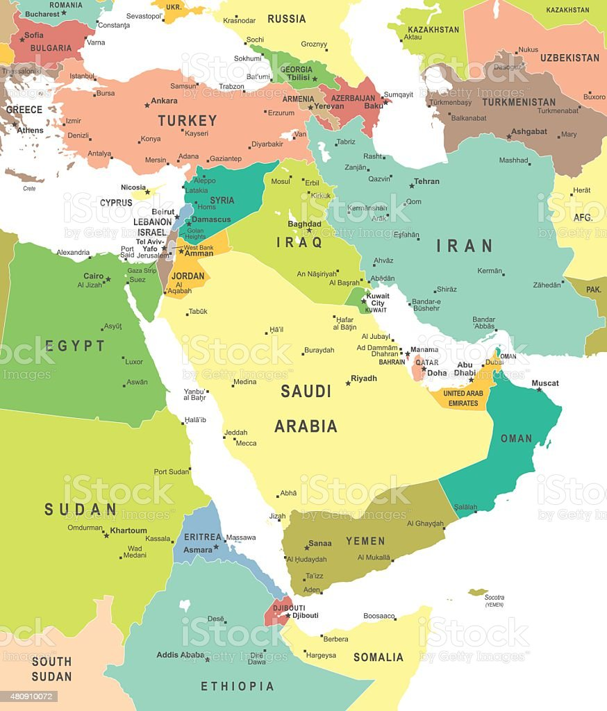 Middle East and Asia - map - illustration vector art illustration