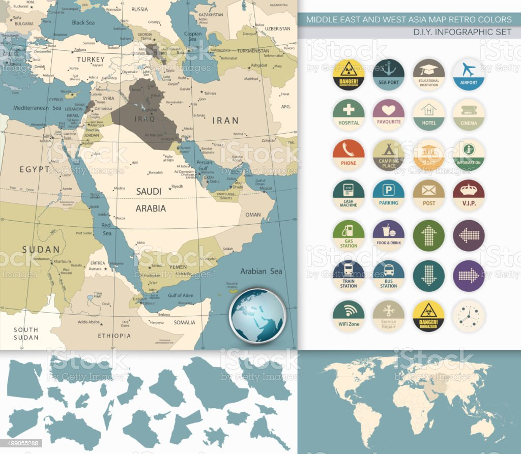 Middle East And West Asia Map Retro Colors vector art illustration