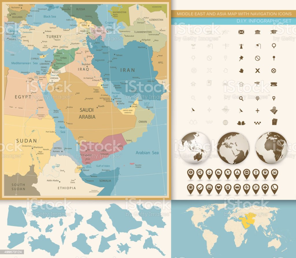 Middle East And West Asia Map Vintage Colors vector art illustration