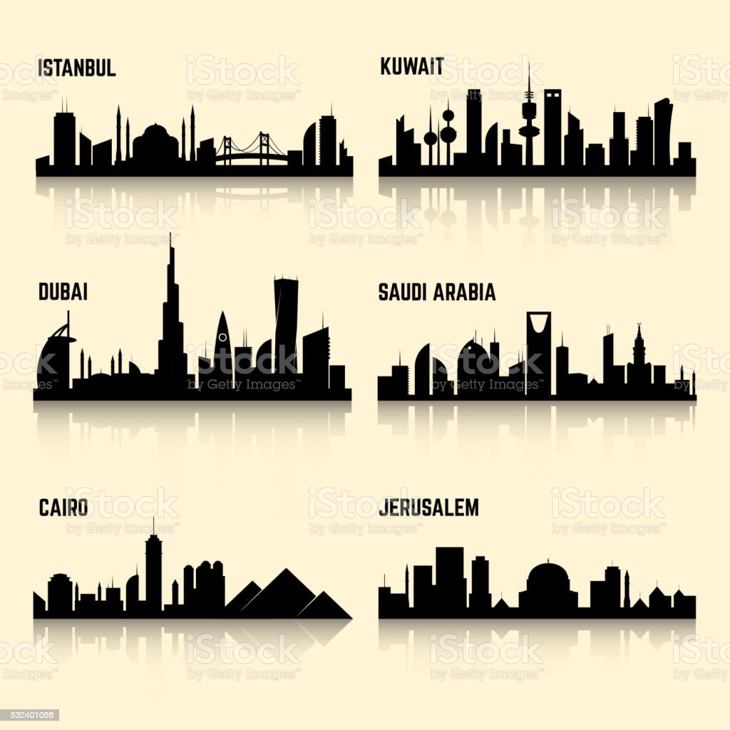 Middle East cities vector set vector art illustration