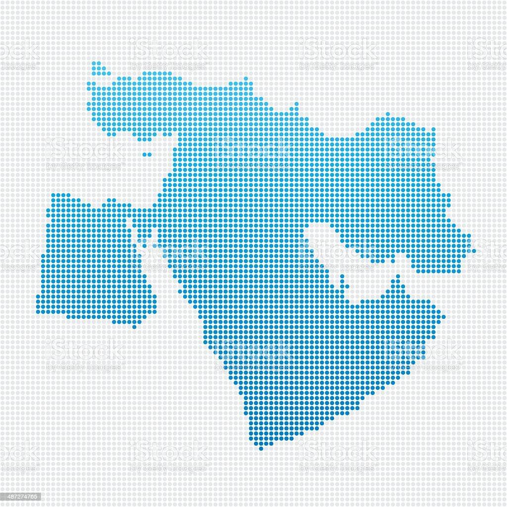 Middle East Map Blue Dot Pattern vector art illustration