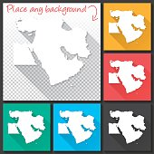Middle East Map for design, Long Shadow, Flat Design