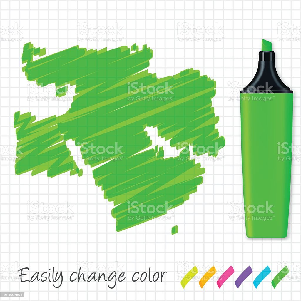 Middle East map hand drawn on grid paper, green highlighter vector art illustration