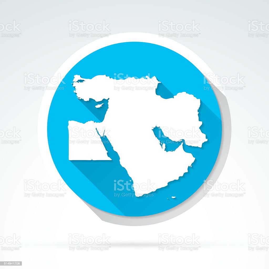 Middle East map icon, Flat Design, Long Shadow vector art illustration