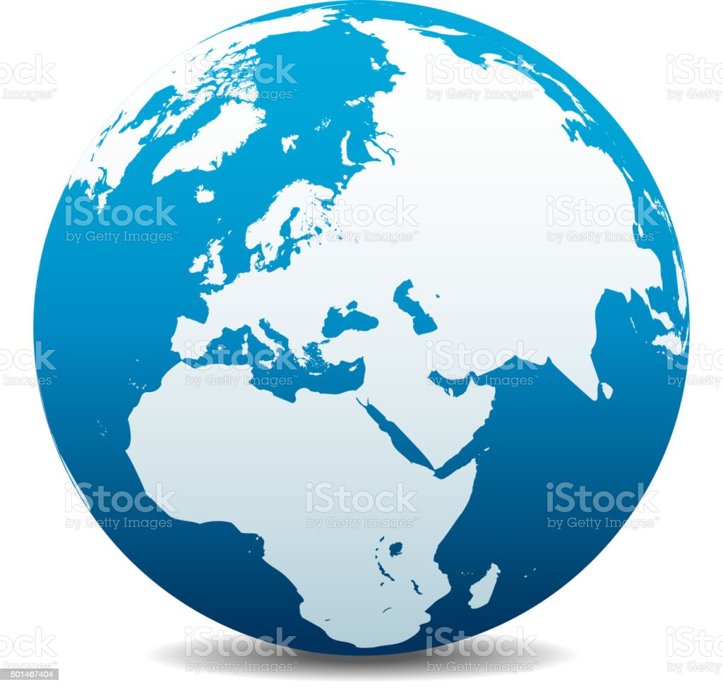 Middle East, Russia, Europe, and Africa, Global World vector art illustration