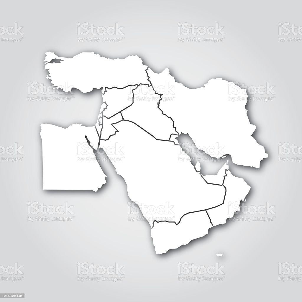 Middle East Silhouette White vector art illustration