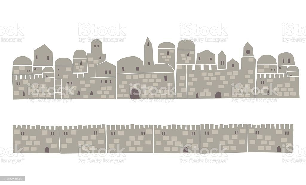 Middle East Town, Wall vector art illustration