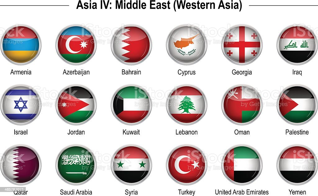 Flags - Asia 4: Middle East vector art illustration