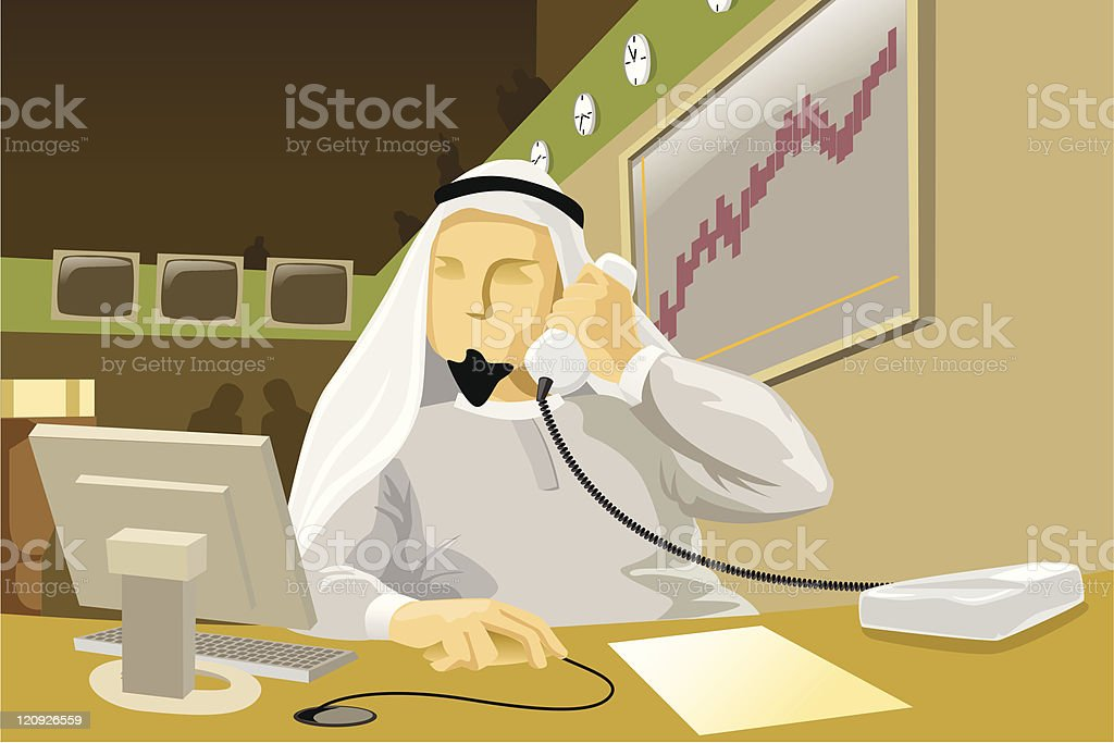 Middle Eastern Brokerage Firm royalty-free stock vector art