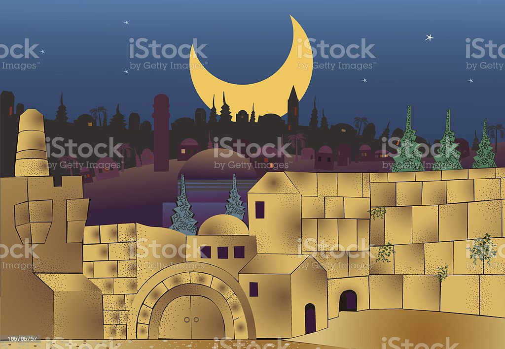 Middle Eastern City At Night vector art illustration