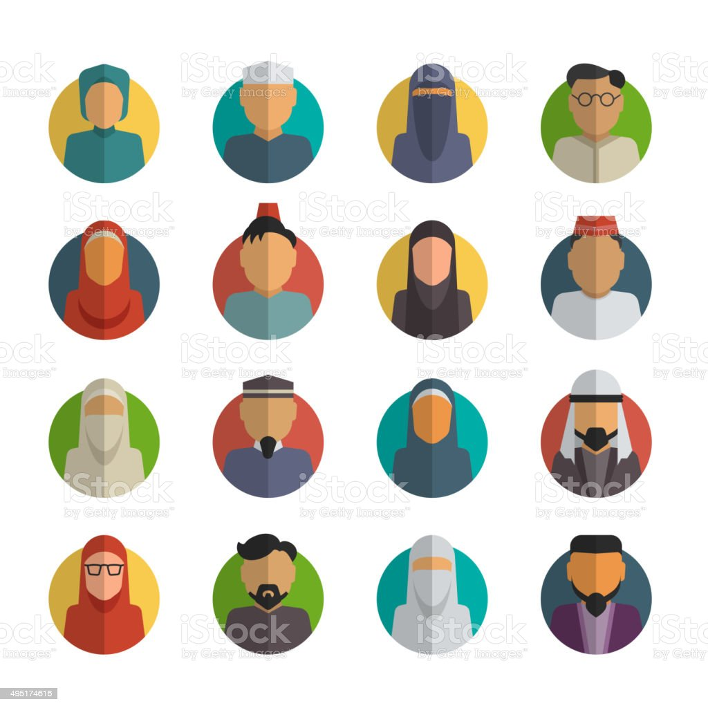 Middle eastern people flat icons set. Muslim male and female vector art illustration