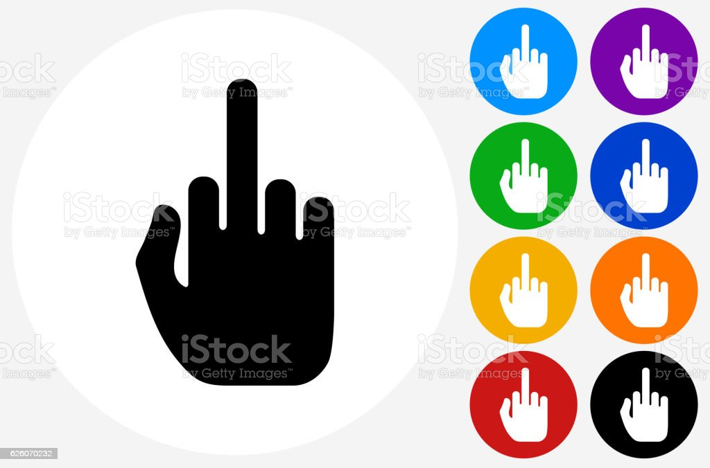 Middle Finger Hand Icon on Flat Color Circle Buttons vector art illustration