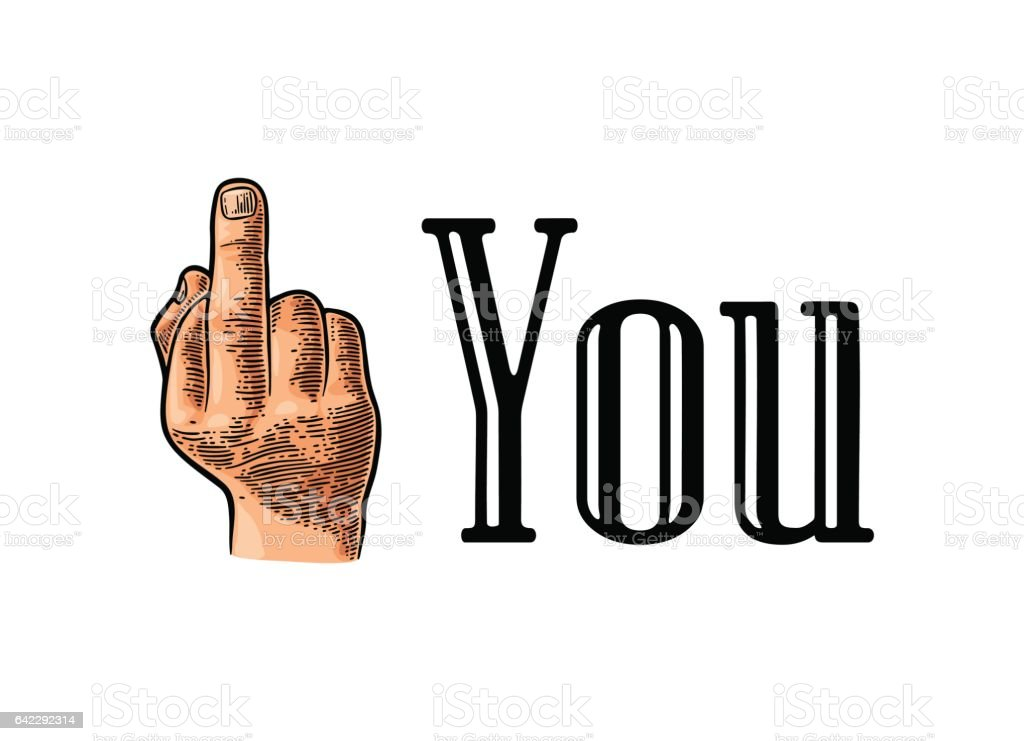 Middle finger Sign by male hand. Fuck you . vector art illustration