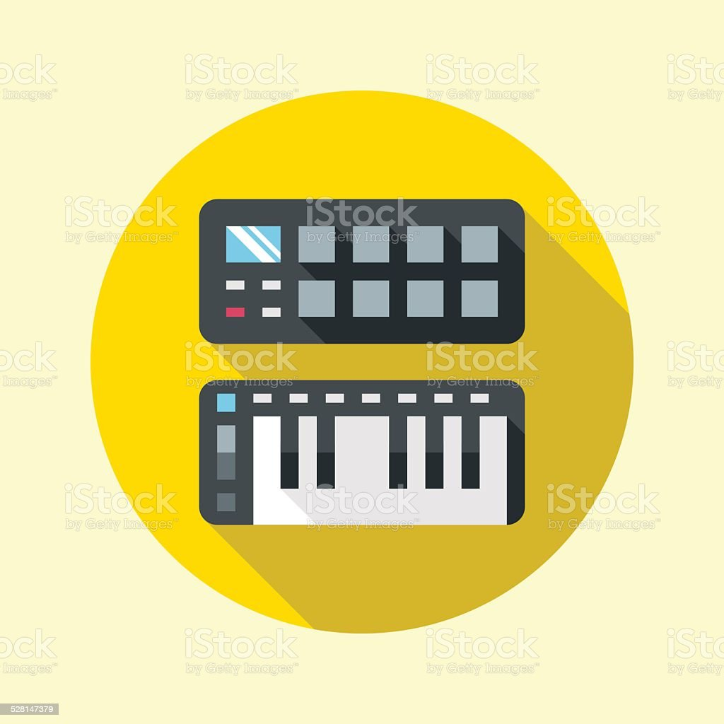 Midi pads and keyboard controllers icon. Flat design long shadow. vector art illustration