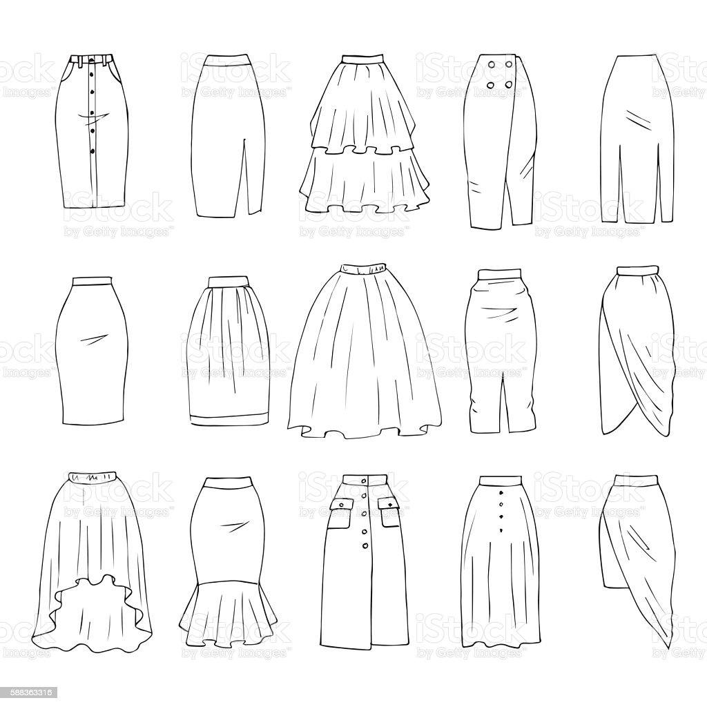 Midi skirts vector art illustration