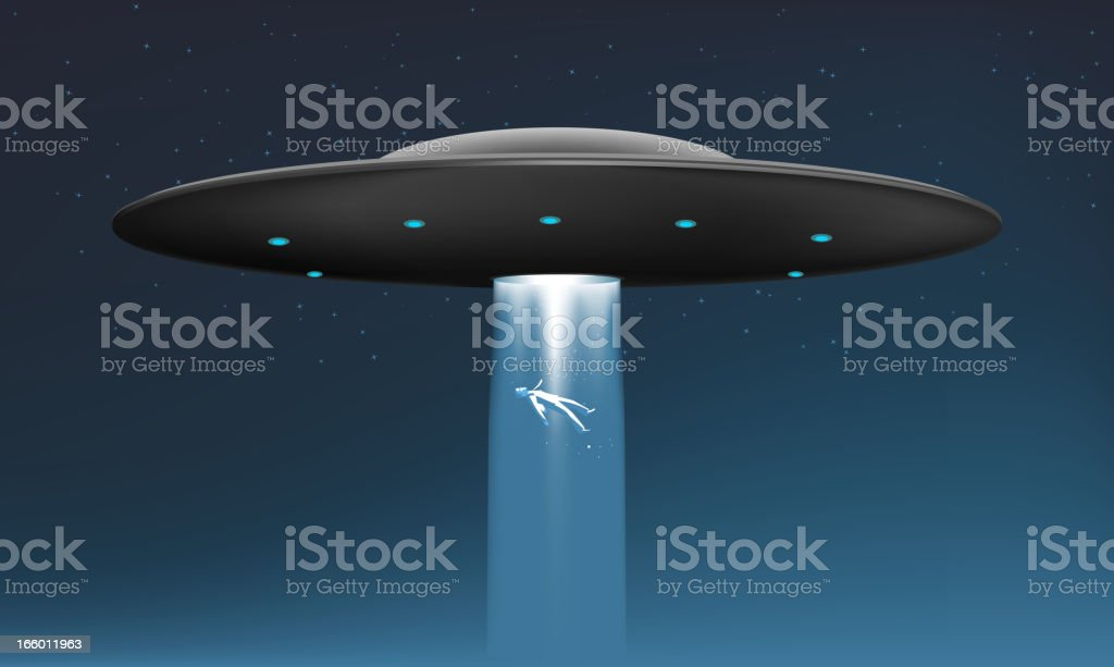 Midnight Alien UFO abduction Ship with Flying human body vector art illustration