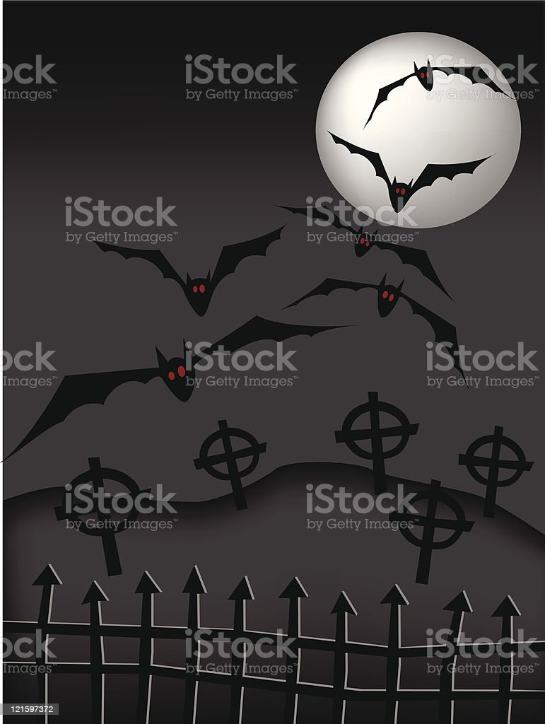 midnight in the cemetery royalty-free stock vector art