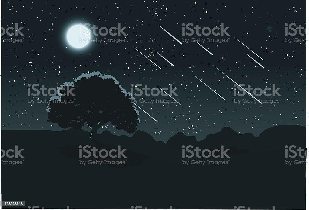 Midnight Meteor Shower vector art illustration