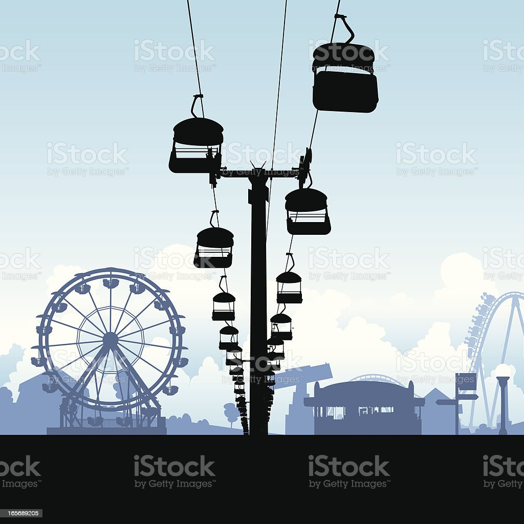 Midway Chairlift Ride royalty-free stock vector art