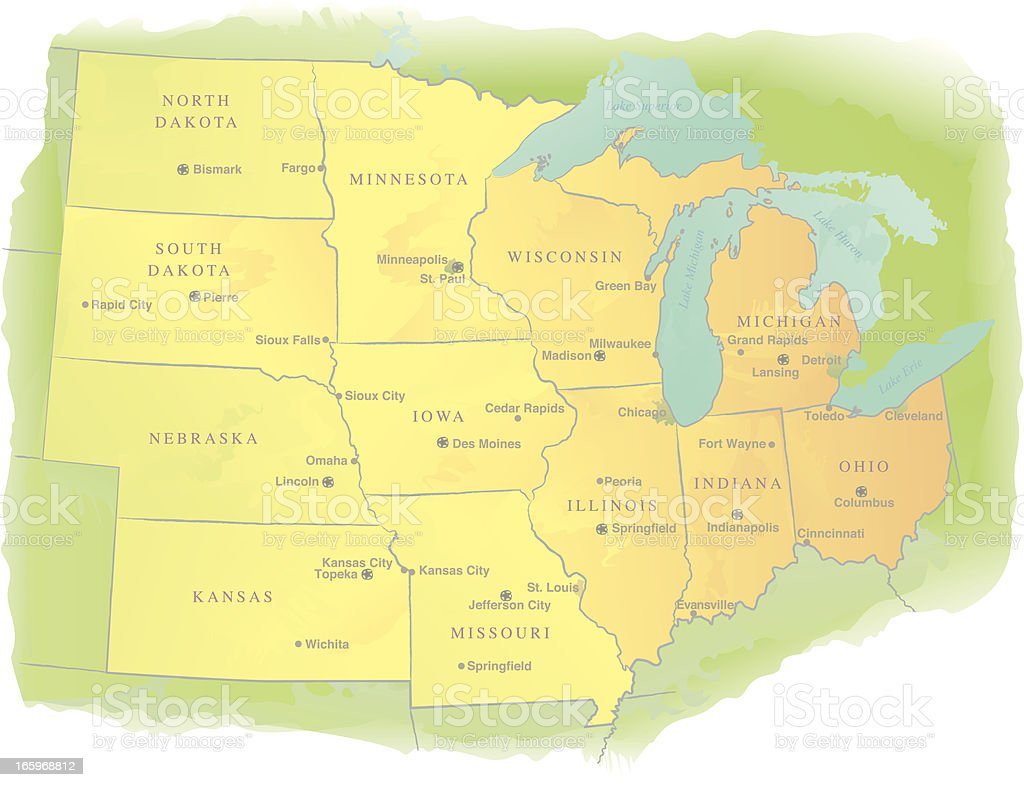 Midwestern USA State Map - Watercolor Style royalty-free stock vector art